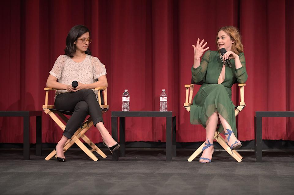 """BEVERLY HILLS, CA - MAY 06:  Sarah Treem and Ruth Wilson attend a screening for Showtime's """"The Affair"""" at the Samuel Goldwyn Theater on May 6, 2015 in Beverly Hills, California.  (Photo by Jason Kempin/Getty Images)"""