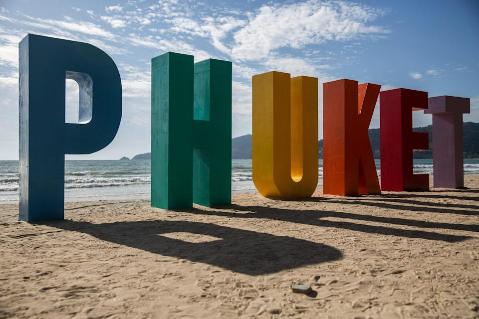 Colorful Phuket sign on the beach