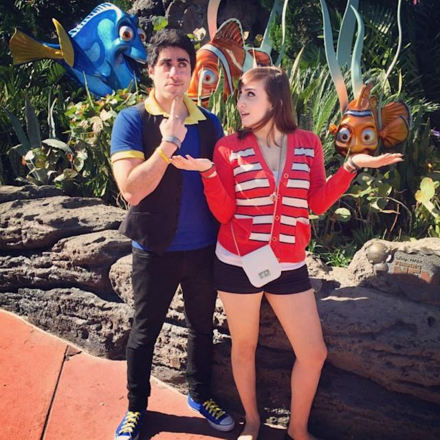 "Sarah and her boyfriend, Leo, Disneybounding as Dory and Nemo from ""Finding Nemo."""