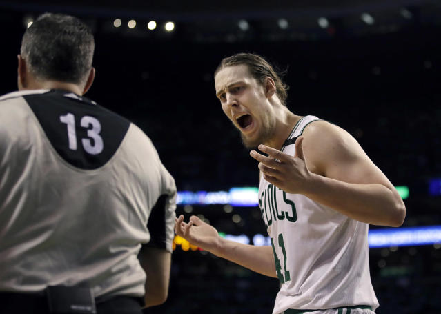 <p>Boston Celtics center Kelly Olynyk, right, appeals to referee Monty McCutchen (13) during the second quarter of Game 7 of a second-round NBA basketball playoff series against the Washington Wizards, Monday, May 15, 2017, in Boston. (Photo: Charles Krupa/AP) </p>