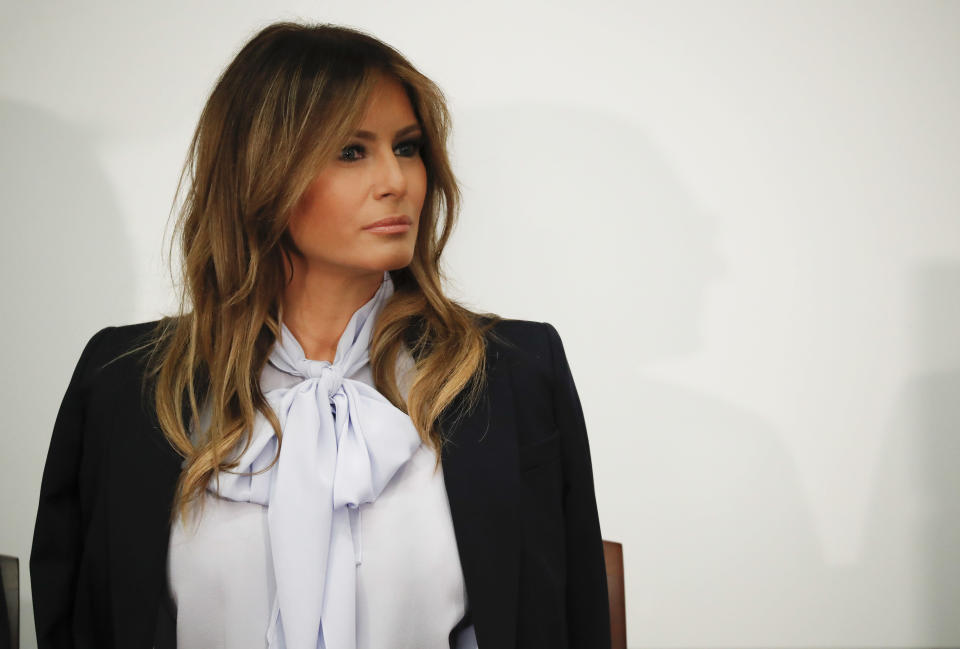 Melania Trump wore a p<span>υ</span>ssy-bow blouse at the cyberbullying summit. (Photo: AP Photo/Pablo Martinez Monsivais)