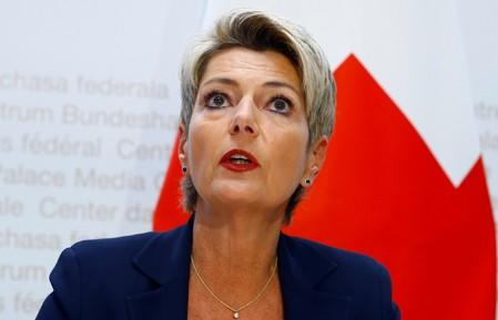 Swiss Justice Minister Keller-Sutter addresses a news conference in Bern