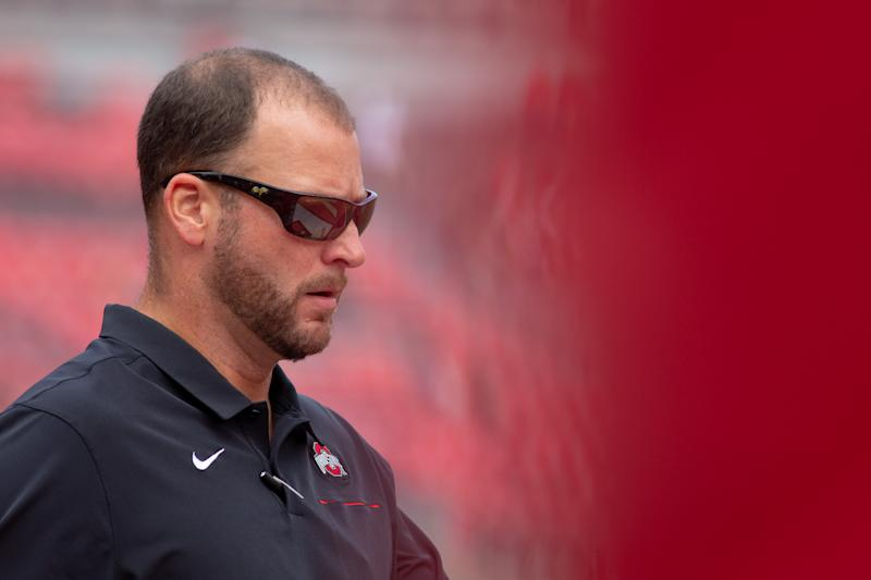 COLUMBUS, OH - SEPTEMBER 07: Ohio State Buckeyes quarterbacks coach Mike Yurcich before a game between the Ohio State Buckeyes and the Cincinnati Bearcats on September 7, 2019, at Ohio Stadium in Columbus, OH. (Photo by Adam Lacy/Icon Sportswire via Getty Images)