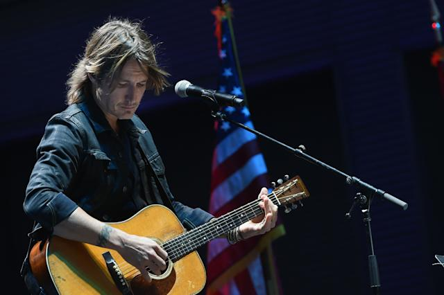 "On Monday night, country music singer Keith Urban performed at a Nashville vigil for the victims of the Las Vegas shooting the night before. Urban told the crowd he was grateful to ""put some light in the world."""
