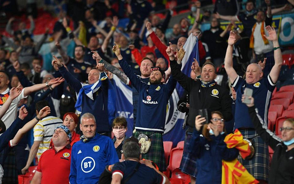 Fans of Scotland wearing kilts show their support after the UEFA Euro 2020 Championship Group D match between England and Scotland at Wembley Stadium on June 18, 2021 in London, England - Getty Images Europe