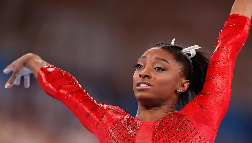Simone Biles is remarkable, but it's a sign of America's harmful stance on mental health that  she had to reach her breaking point at the Olympics. (Photo by Wang Lili/Xinhua via Getty Images)