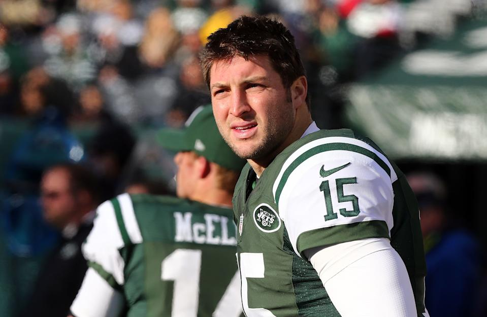 "Even with the perfect excuse available to him, Tim Tebow apparently refused to say the word, ""s--t"" while with the Jets. (Jim McIsaac/Getty Images)"