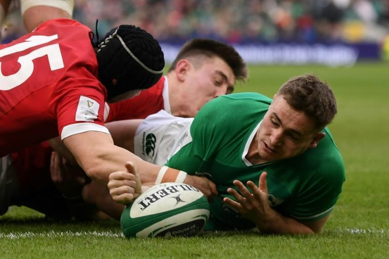 Jordan Larmour's try-scoring display in the win over Wales probably laid to rest any hope veteran Rob Kearney entertained of a return to full-back (AFP Photo/DANIEL LEAL-OLIVAS)