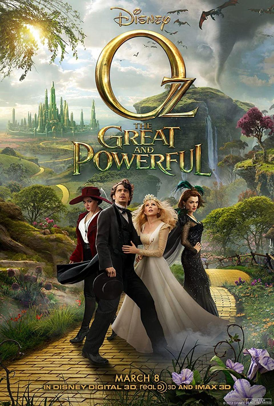 """<p>What's better than one story of Oz on this list of witch movies? <em>Two</em> stories of Oz! In this origin story, we learn how Oz came to be a powerful wizard. It stars James Franco along with Mila Kunis, Rachel Weisz, and Michelle William as the witches.<br></p><p><a class=""""link rapid-noclick-resp"""" href=""""https://www.amazon.com/Oz-Great-Powerful-James-Franco/dp/B00CLZ48FA?tag=syn-yahoo-20&ascsubtag=%5Bartid%7C10070.g.37360837%5Bsrc%7Cyahoo-us"""" rel=""""nofollow noopener"""" target=""""_blank"""" data-ylk=""""slk:WATCH NOW"""">WATCH NOW</a></p>"""