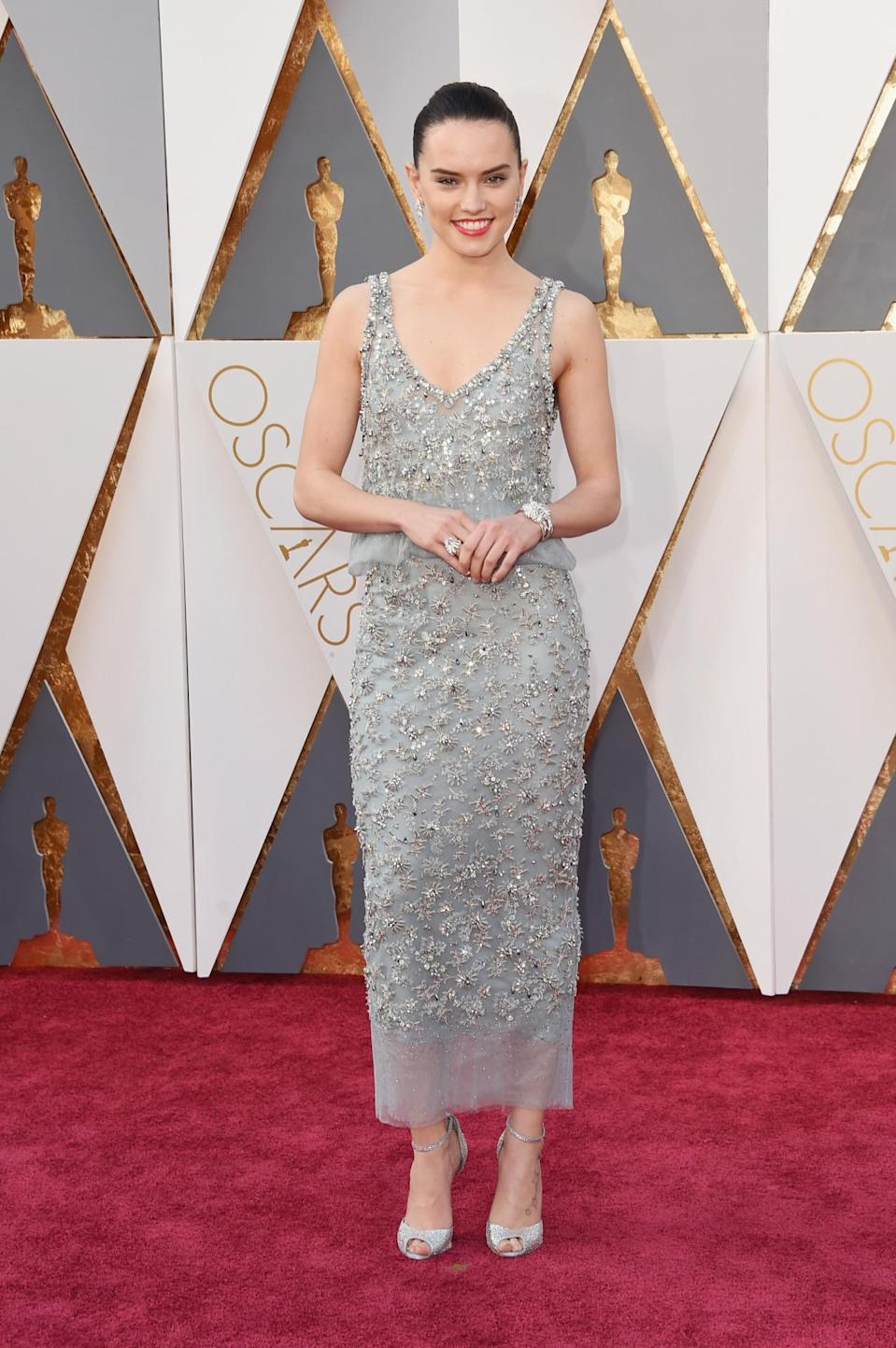 <p><i>Star Wars: The Force Awakens </i>star Daisy Ridley may be the newest newcomer on this list — but that isn't stopping her from wearing one of the most glam dresses on the Oscars red carpet. The fearless 23-year-old Brit has experimented with frocks by Chloé, Mary Katrantzou, and Dior. And for her turn presenting at the Academy Awards? Chanel Couture. <i>(Photo: Getty)</i></p>