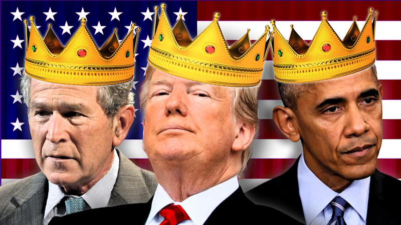 Presidents George W. Bush, Donald Trump and Barack Obama. (Photo illustration: Yahoo News; photos: AP (4), Getty images (3))