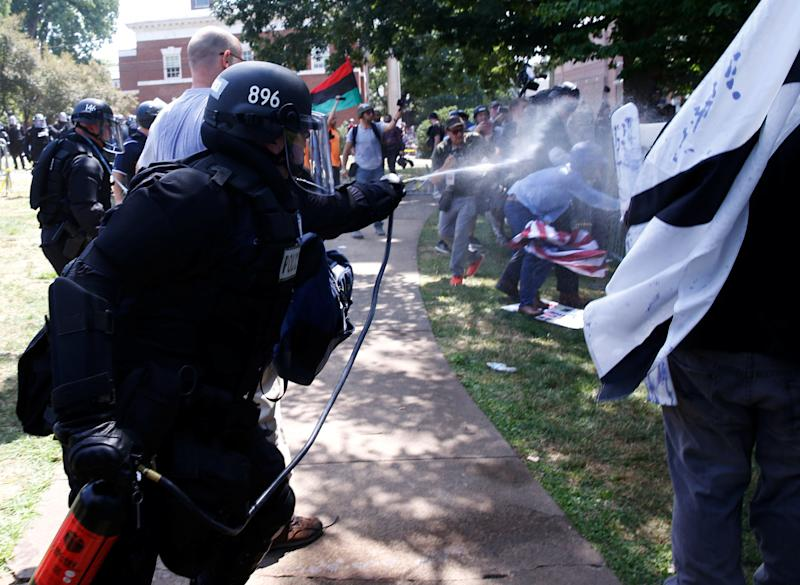 Virginia State Police use pepper spray as they move in during a clash between white nationalist protesters and counter-protesters.
