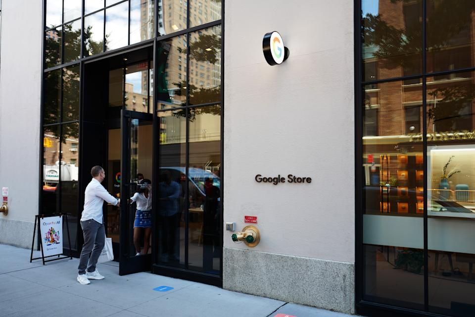 NEW YORK, NEW YORK - JUNE 24: People exit the Google Store on June 24, 2021 in the Chelsea neighborhood of Manhattan in New York City. Google's first brick and mortar store opened earlier this month in NYC's Chelsea neighborhood.  (Photo by Michael M. Santiago/Getty Images)