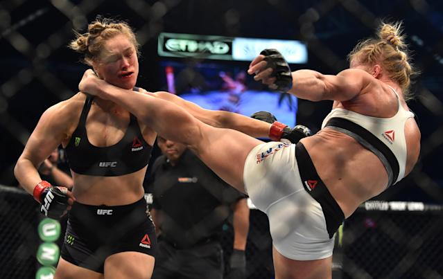 Two years ago, Ronda Rousey suffered a shocking head-kick KO defeat to Holly Holm. (Getty)
