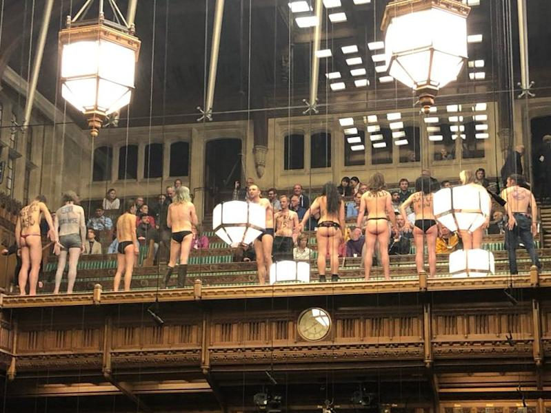 Brexit protest: Nude environmental protesters storm public gallery during Commons debate