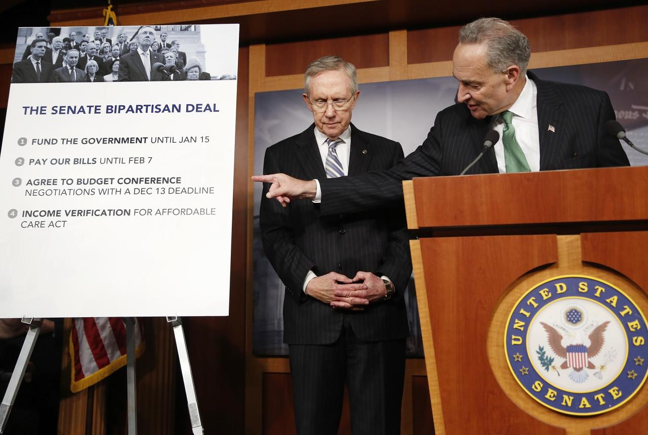 U.S. Senator Charles Schumer (D-NY) (R) and Senate Majority Leader Harry Reid (D-NV) appear at a news conference after bipartisan passage of stopgap budget and debt legislation at the U.S. Capitol in Washington, October 16, 2013. The U.S. Senate approved a deal on Wednesday to end a political crisis that partially shut down the federal government and brought the world's biggest economy to the edge of a debt default that could have threatened financial calamity. REUTERS/Jonathan Ernst (UNITED STATES - Tags: POLITICS BUSINESS TPX IMAGES OF THE DAY)