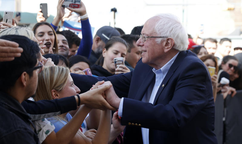 Sen. Bernie Sanders greets supporters outside his campaign rally held on the day of the Nevada Caucus in El Paso, Texas, U.S., February 22, 2020. (Mike Segar/Reuters)