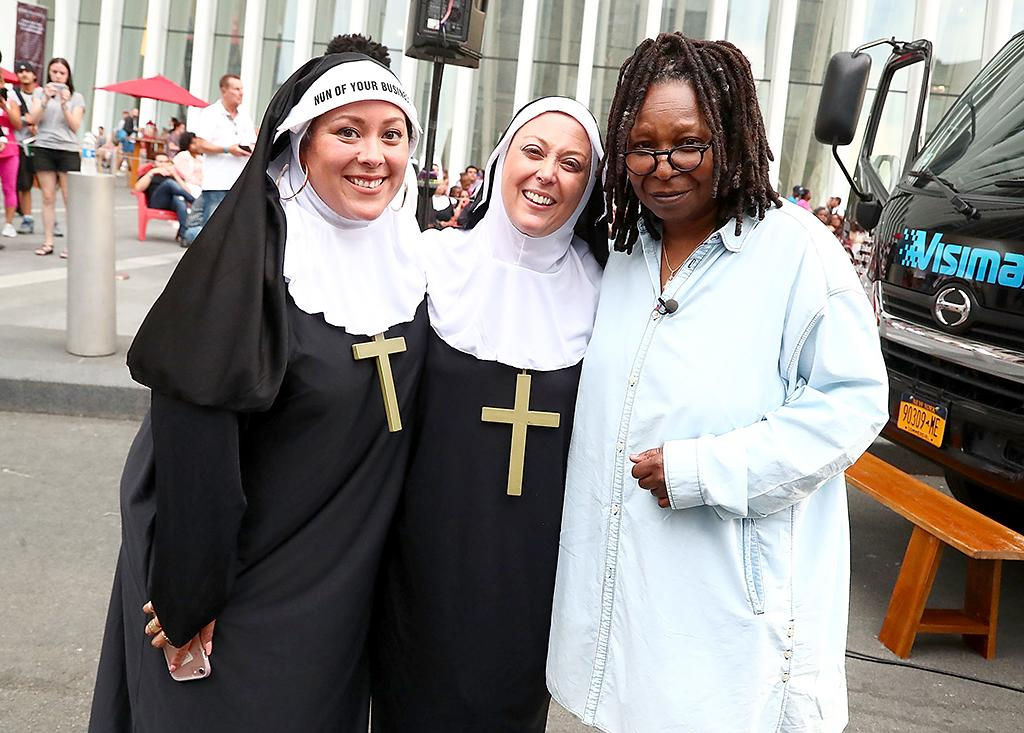 <p>Whoopi got back into the <i>Sister Act</i>, when she posed with fans at a screening of the 1992 movie in NYC. All she was missing was her habit! (Photo: Astrid Stawiarz/Getty Images for Westfield WTC) </p>