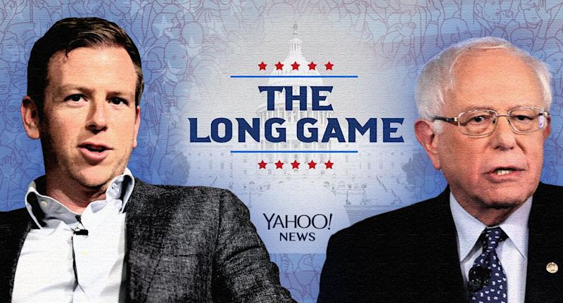 Peter Hamby and Bernie Sanders. (Photo illustration: Yahoo News; photos: Gage Skidmore via Flickr, AP (2), Getty Images)