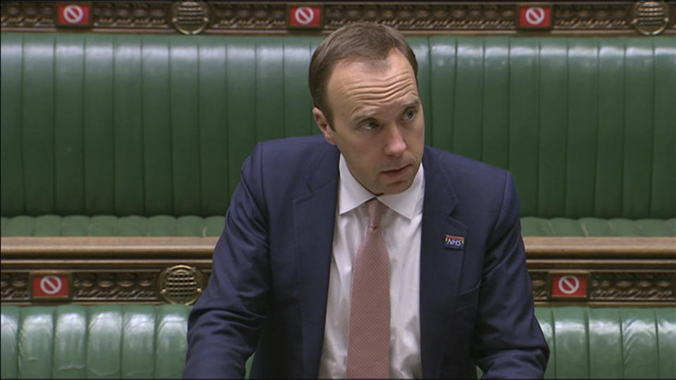 In this image from video, Britain's Health Secretary Matt Hancock delivers a statement on COVID-19 in the House Of Commons, London, Thursday Oct. 15, 2020. Britain's health secretary has shifted London into the second-highest COVID-19 alert level amid a rise in cases. Matt Hancock told the House of Commons that the government acted because infection rates are rising rapidly in the capital and swift action was necessary to control the virus. (House of Commons/PA via AP)