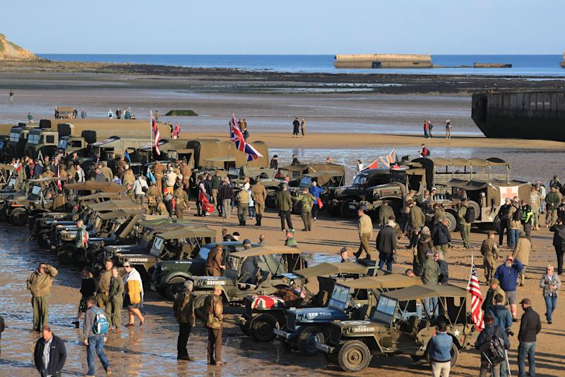 Military vehicles line the beach at Arromanches in Normandy, northern France, as part of events to mark the 75 anniversary of D-Day (Picture: PA)