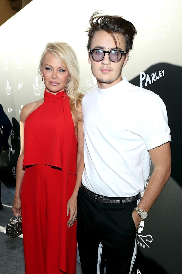 Pamela Anderson and Brandon Thomas Lee in Beverly Hills in 2011. (Photo: David Livingston/Getty Images)
