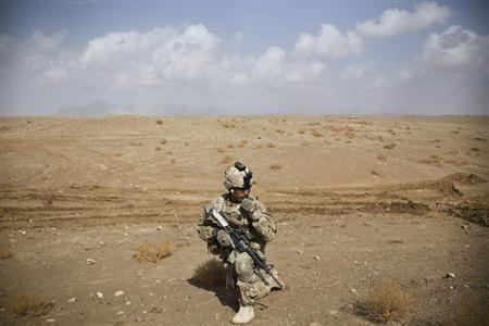 A U.S. Army soldier with Charlie Company, 36th Infantry Regiment, 1st Armored Division sets up at a supportive position during a mission near Command Outpost Pa'in Kalay in Maiwand District, Kandahar Province