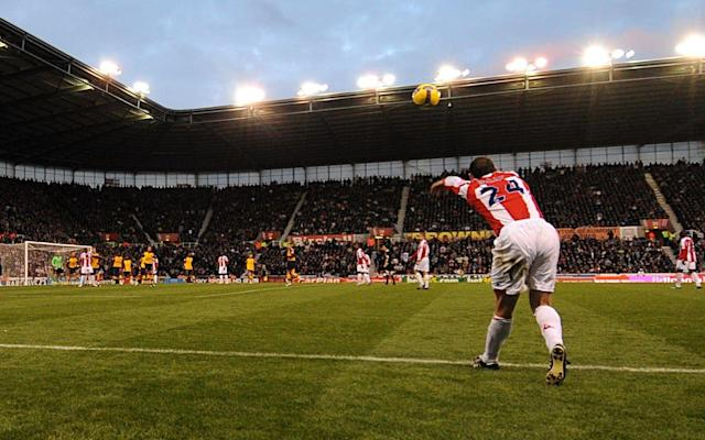 <span>Rory Delap takes a long throw into the box leading to a goal for Seyi Olofinjana nine years ago</span>