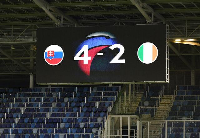 The big screen at he Narodny Stadium displays the final score after Slovakia get the better of the Republic of Ireland on penalties
