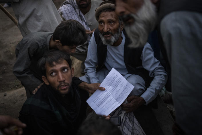 Displaced Afghans organize food donations at a camp for internally displaced persons in Kabul, Afghanistan, Monday, Sept. 13, 2021. (AP Photo/Bernat Armangue)