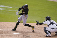 Pittsburgh Pirates' Colin Morand connects for a run scoring single during the eighth inning of a baseball game against the Detroit Tigers, Thursday, April 22, 2021, in Detroit. (AP Photo/Carlos Osorio)