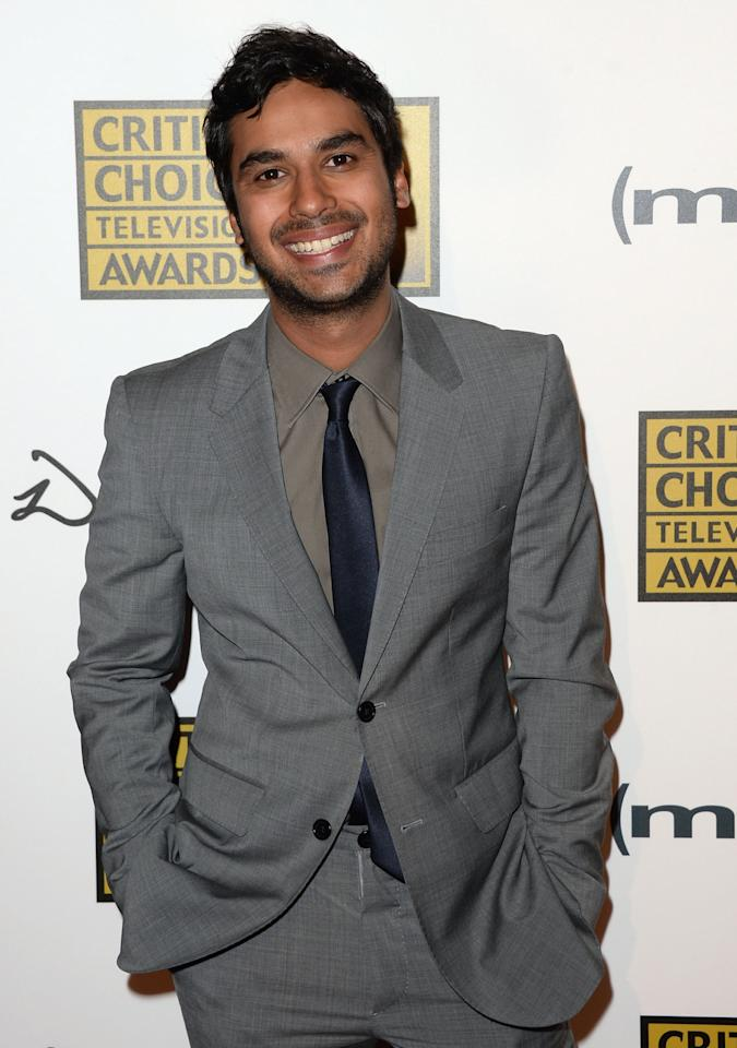 LOS ANGELES, CA - JUNE 10:  Actor Kunal Nayyar arrives at Broadcast Television Journalists Association's third annual Critics' Choice Television Awards at The Beverly Hilton Hotel on June 10, 2013 in Los Angeles, California.  (Photo by Jason Merritt/Getty Images)