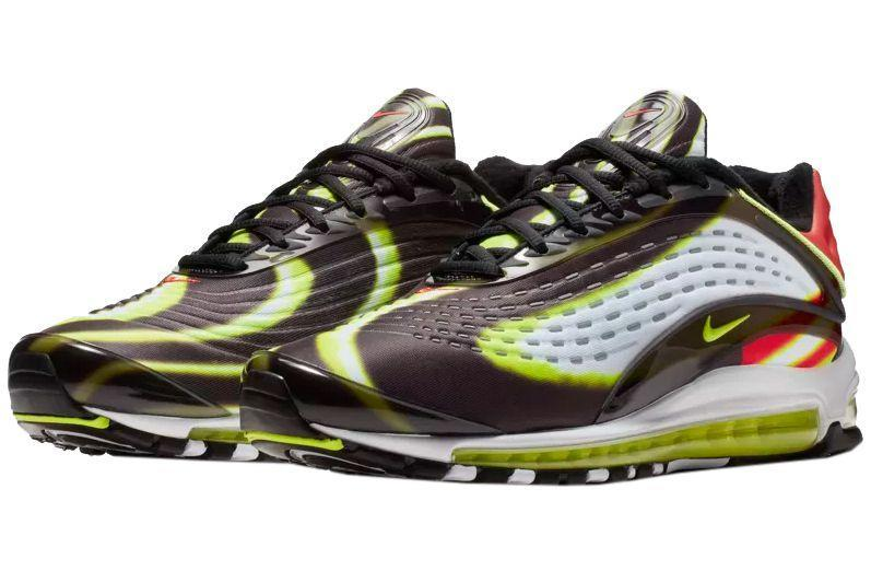 """<p><a href=""""https://www.nike.com/launch/t/air-max-black-habanero-red-white-volt/"""" rel=""""nofollow noopener"""" target=""""_blank"""" data-ylk=""""slk:SHOP"""" class=""""link rapid-noclick-resp"""">SHOP</a> <em>$180, <a href=""""https://www.nike.com/launch/t/air-max-black-habanero-red-white-volt/"""" rel=""""nofollow noopener"""" target=""""_blank"""" data-ylk=""""slk:nike.com"""" class=""""link rapid-noclick-resp"""">nike.com</a></em></p><p>The Air Max Deluxe rose to popularity thanks to the unique texture and colors that skate across the shoes. Black, volt, and white ripple all over the upper of the sneaker, making waves, while a habanero red pops up at the heel and on branding on the toe. The kicks are from a bygone era (almost two decades ago), and retain the same aesthetic that made them popular in the first place.</p><p><strong>Release: </strong>11/7</p>"""