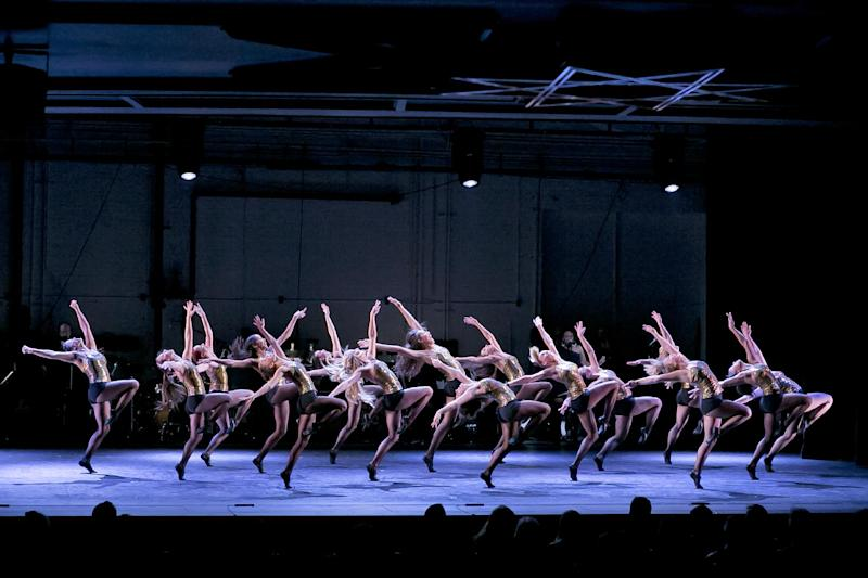 In this April 23, 2012 photo released by New York City Center, dancers perform during a celebration for Capezio's 125th Anniversary at New York City Center. (AP Photo/New York City Center, Richard Termine)