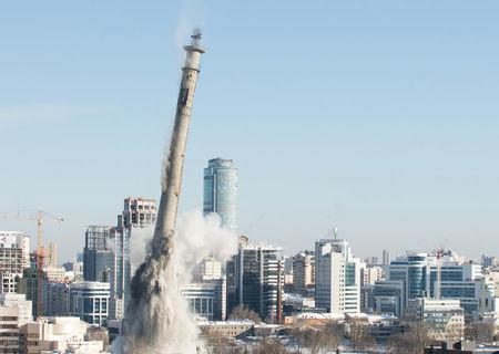The unfinished and abandoned TV tower collapses during a controlled demolition in Yekaterinburg, Russia March 24, 2018. REUTERS/Alexei Kolchin
