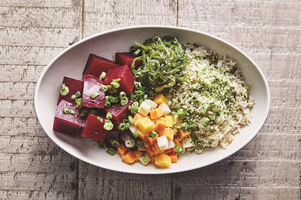 "This is a bowl of marinated beets and rice, but it's also one of our best sellers at <a href=""http://beefsteakveggies.com/"" rel=""nofollow noopener"" target=""_blank"" data-ylk=""slk:Beefsteak"" class=""link rapid-noclick-resp"">Beefsteak</a>. Charisse Dickens, our amazing Hawaiian chef and a dear friend who manages a lot of our R&D, cringes a bit when we use the word poke to describe these beets. To her, poke is marinated fish, the dish that has started showing up everywhere across the United States these past few years, and that's it. I told her we could call this marinated beets and rice, but then it would only be half as popular at Beefsteak. <a href=""https://www.epicurious.com/recipes/food/views/marinated-beet-poke-rice-bowl?mbid=synd_yahoo_rss"" rel=""nofollow noopener"" target=""_blank"" data-ylk=""slk:See recipe."" class=""link rapid-noclick-resp"">See recipe.</a>"
