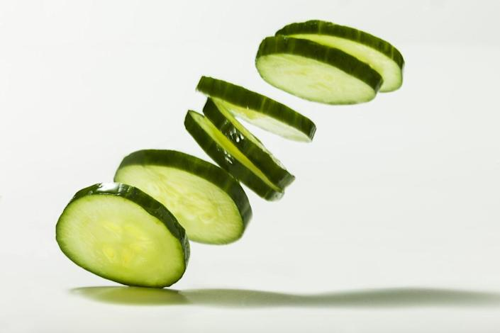 <p>Up your veggie intake by swapping out crackers with cucumbers. Plus,<strong> cucumbers are about 95% water so it will contribute to your hydration needs for the day. </strong>Slice them in coins so they have that same cracker feel and crunch.</p>
