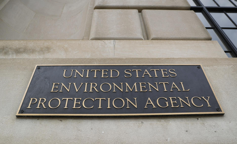 FILE - In this Sept. 21, 2017, file photo, the Environmental Protection Agency (EPA) Building is shown in Washington. Six former Environmental Protection Agency chiefs are calling for an agency reset after President Donald Trump's regulation-chopping, industry-minded first term. The group is presenting a detailed action plan drafted by former EPA staffers for whoever wins the Nov. 3 presidential election. (AP Photo/Pablo Martinez Monsivais)