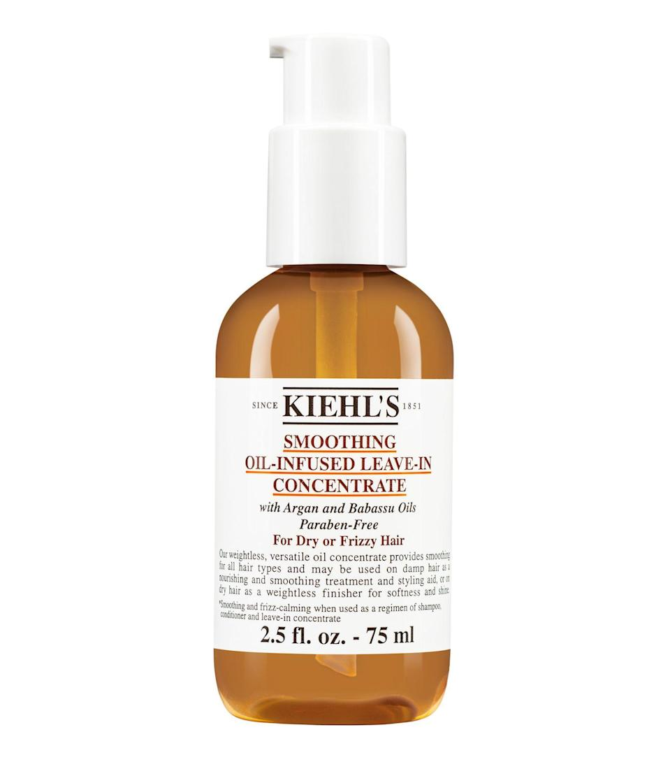 """<p><strong>KIEHL'S SINCE 1851</strong></p><p>kiehls.com</p><p><strong>$25.00</strong></p><p><a href=""""https://go.redirectingat.com?id=74968X1596630&url=https%3A%2F%2Fwww.kiehls.com%2Fhair%2Fhair-treatments-hair-masks%2Fsmoothing-oil-infused-leave-in-concentrate%2FKHL3541.html&sref=https%3A%2F%2Fwww.harpersbazaar.com%2Fbeauty%2Fhair%2Fg5620%2Fbest-leave-in-conditioners%2F"""" rel=""""nofollow noopener"""" target=""""_blank"""" data-ylk=""""slk:SHOP"""" class=""""link rapid-noclick-resp"""">SHOP</a></p><p>The argan and babassu oils in this paraben-free formula will leave even the most dehydrated, breakage-prone spirals strong and shiny. The soft, woodsy scent is just a bonus.</p>"""