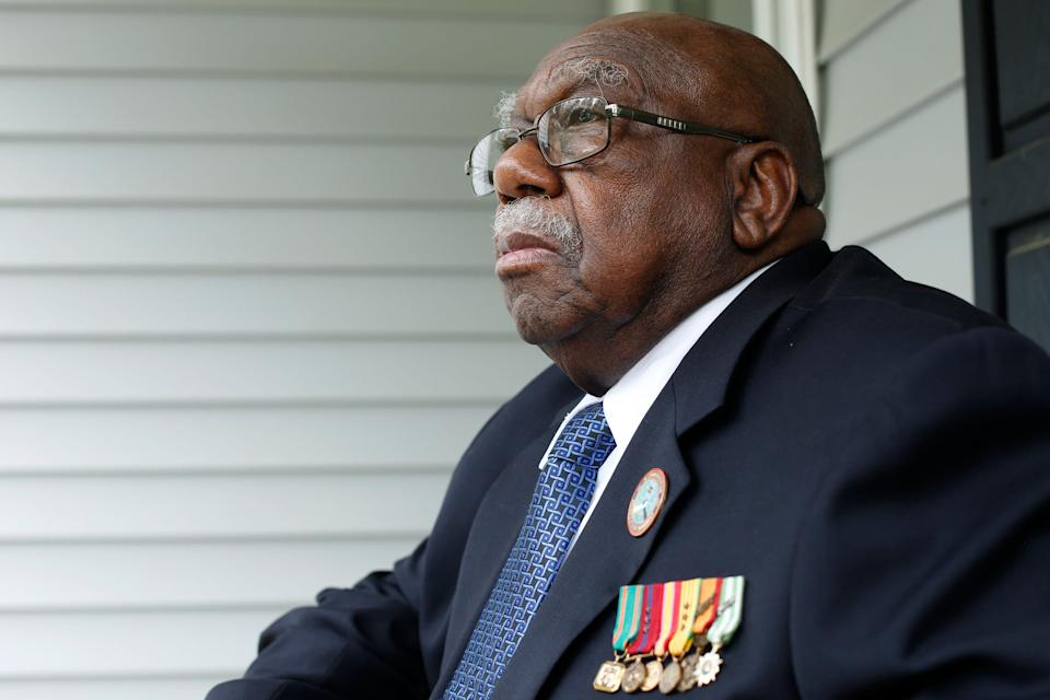 Charles Person, one of the original 13 Freedom Riders, on his front porch at his Atlanta home on April 29, 2021.