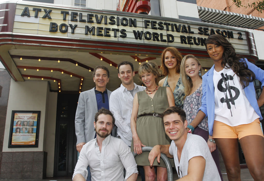 """Executive Producer Michael Jacobs, Ben Savage, Betsy Randle, Maitland Ward, Lily Nicksay, Trina McGee, Rider Strong, and Matthew Lawrence attend the """"Boy Meets World"""" reunion panel at the ATX Television Festival on Friday, June 7, 2013 in Austin, Texas."""