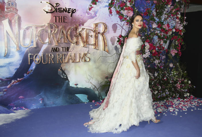 """FILE - Keira Knightley arrives at the premiere of """"The Nutcracker and the Four Realms"""" on Nov. 1, 2018, in London. Knightley turns 36 on March 26. (Photo by Joel C Ryan/Invision/AP, File)"""