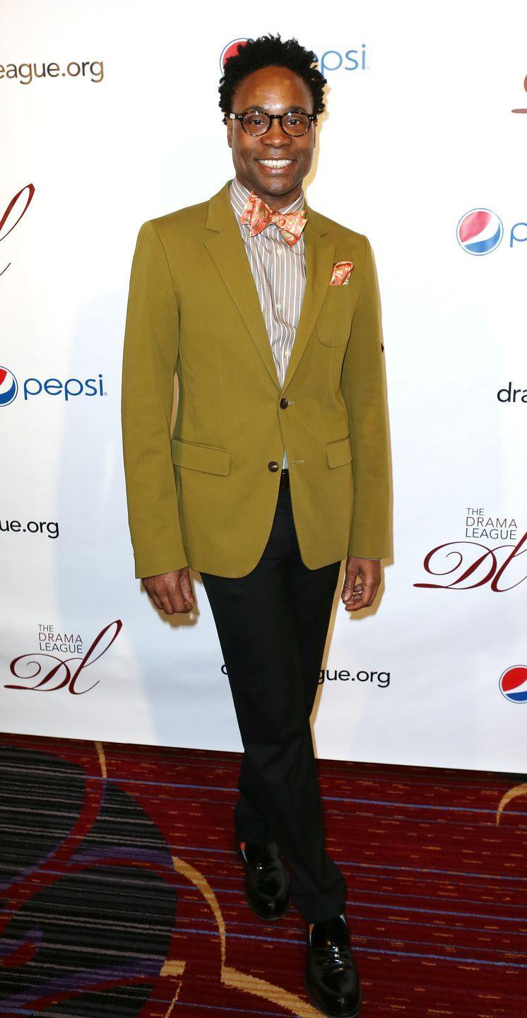 <p>Porter at the 79th annual Drama League Awards in a striped shirt, an orange printed bow tie, a chartreuse blazer, and black trousers. </p>