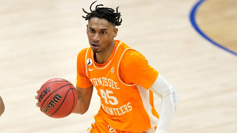 Tennessee's Keon Johnson plays against Alabama during the NCAA college basketball Southeastern Conference Tournament Saturday, March 13, 2021, in Nashville, Tenn. (AP Photo/Mark Humphrey) ORG XMIT: NYOTK