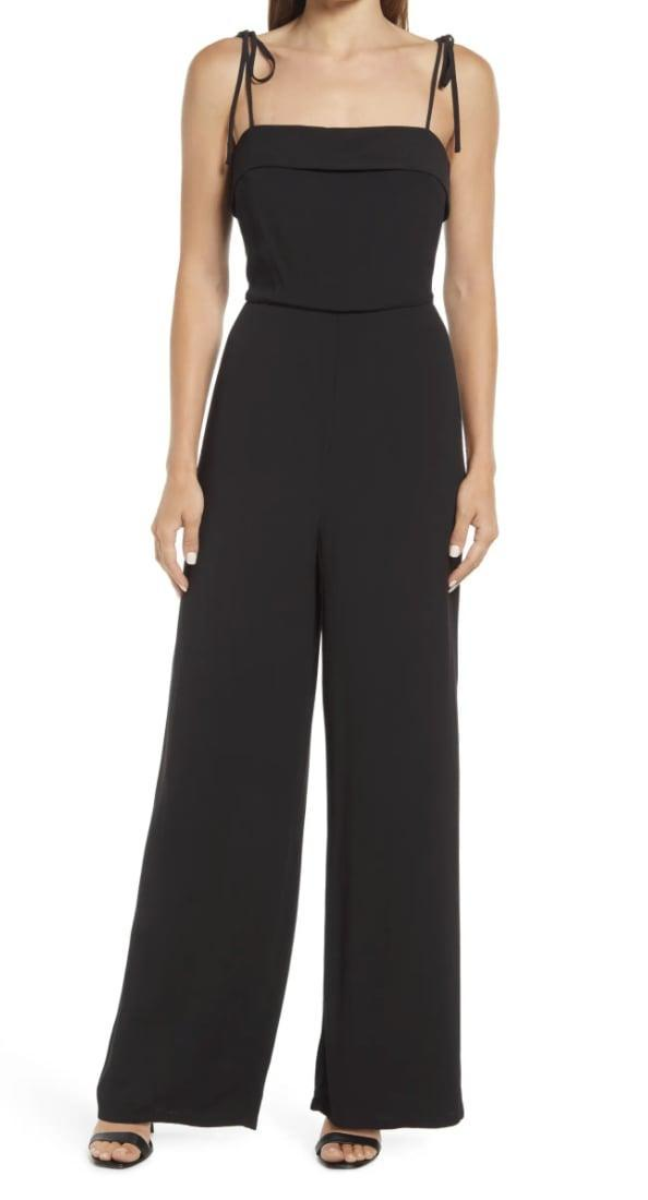 <p>This <span>Halogen Tie Waist Wide Leg Crepe Jumpsuit</span> ($89) can easily be dressed up with sleek mules or down with slides.</p>