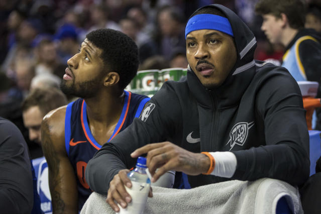 "Do <a class=""link rapid-noclick-resp"" href=""/nba/players/4725/"" data-ylk=""slk:Paul George"">Paul George</a> and Carmelo Anthony just want it to end already? (AP)"