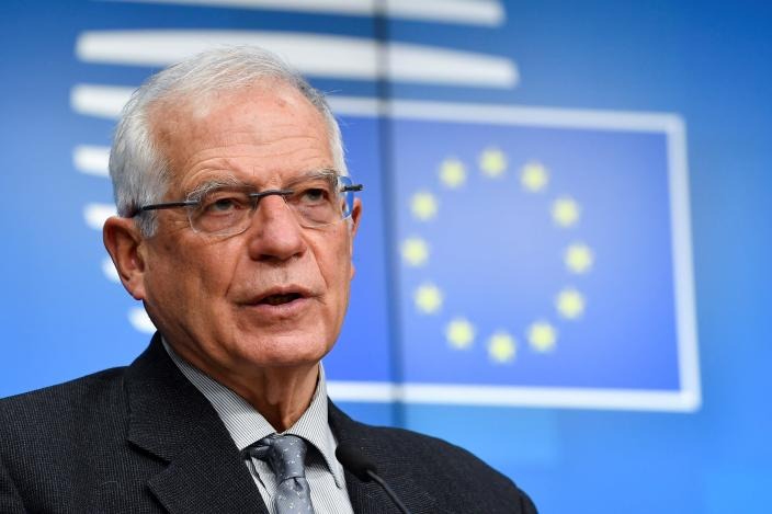 European Union foreign policy chief Josep Borrell talks to journalists during a news conference following an EU Foreign Affairs minister meeting at the European Council building in Brussels, Monday, Jan. 25, 2021. Britain has sparked a post-Brexit spat with the European Union by declining to grant the bloc's first-ever ambassador to the country full diplomatic status. (John Thys/Pool Photo via AP)
