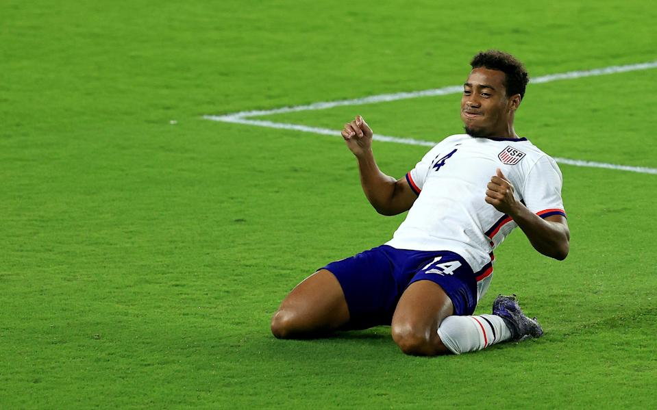 Jonathan Lewis celebrates a goal against the Trinidad and Tobago in a friendly at Exploria Stadium on Jan. 31.