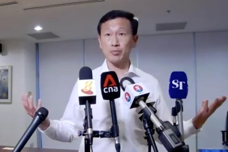 Transport Minister Ong Ye Kung speaking during a virtual media doorstop on Friday (21 August).