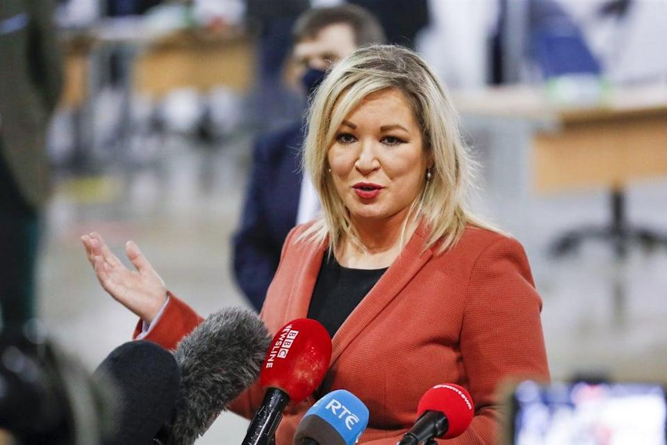 Deputy First Minister, Michelle O'Neill speaking to the media during a visit to the newly opened Covid-19 vaccination centre in the SSE Arena, Belfast (Liam McBurney/PA) (PA Archive)